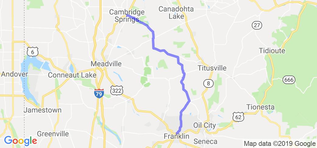 Edinboro to Franklin Via Twisties.    Pennsylvania
