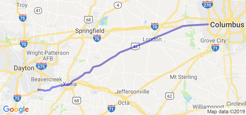Columbus to Dayton Trip   Route Ref. #36170   Motorcycle Roads