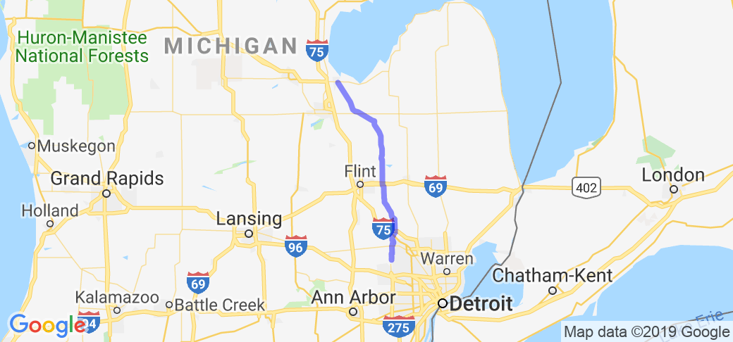 Oakland County Lakes to Bay City on M15 |  Michigan