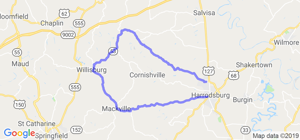 """The Harrodsburg to Willisburg Loop"" 