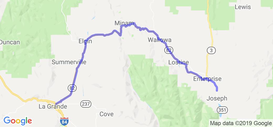 Oregon Hwy 82 Wallowa Valley to La Grande |  Oregon