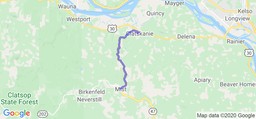 Highway 47 from Clatskanie to Mist |  Oregon