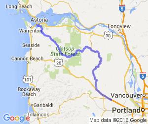 Vernonia - Astoria back roads; highway 47 & 202    Oregon