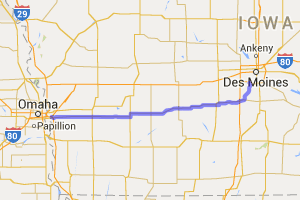 Des Moines To Council Bluffs - Via Highway IA-92 |  Iowa