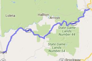 Pennsylvania Route 949 - Sigel, PA to Ridgway, PA -    Pennsylvania