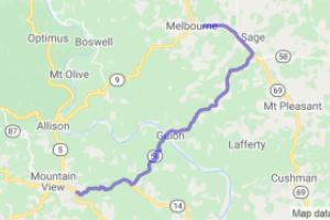 Mountain View to Melbourne via Highways 14, 58 and 69. |  Arkansas