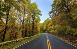 fall motorcycle road in the northeast