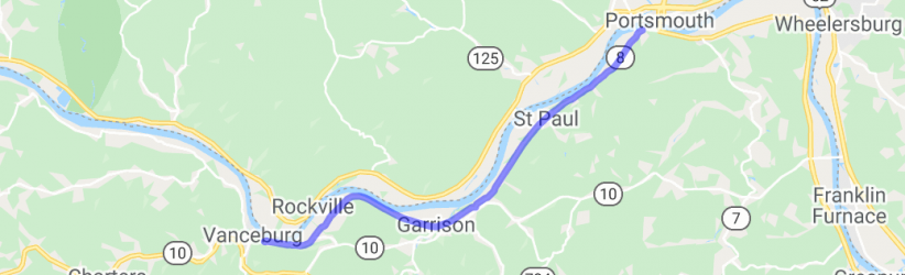River run from Portsmouth, OH to Vanceburg, KY on KY8    Kentucky
