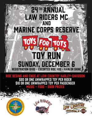 24th Annual Law Riders MC and USMC Toys for Tots Toy Run |  South Carolina