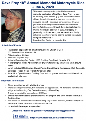 Dave Frey Memorial Motorcycle Ride |  Pennsylvania
