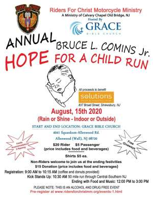 """RIders for Christ M.M. Annual """"Hope for a Child"""" run 