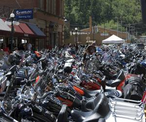 motorcycle lined up during a Sturgis Motorcycle Rally