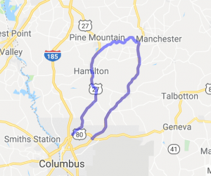 Columbus GA to FDR State Park Loop |  Georgia