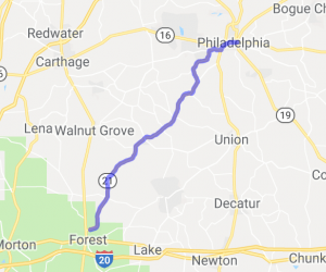 Route 21 From Forest to Philadelphia    Mississippi